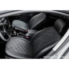 Чехлы Nissan Qashqai 2007-2013 Эко-кожа, Ромб /черные