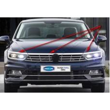 Верхняя накладка на передние фонари Volkswagen Passat 2015- (реснички) (нерж.) 3 шт.