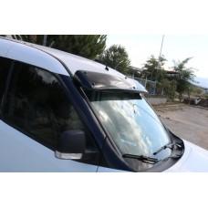 Козырек на лобовое стекло Fiat Doblo nuovo 2010- (черный глянец, 5мм)